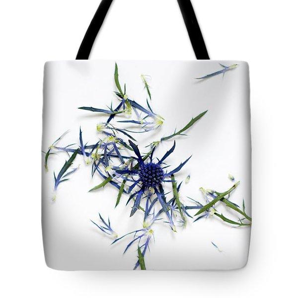 Crushed Blue Thistle Petals Tote Bag