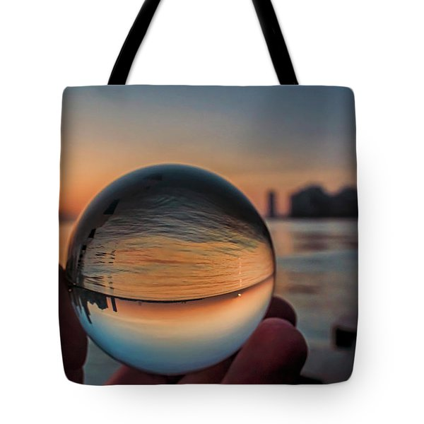 Crystal Ball On Chicago's Lakefront At Sunrise Tote Bag