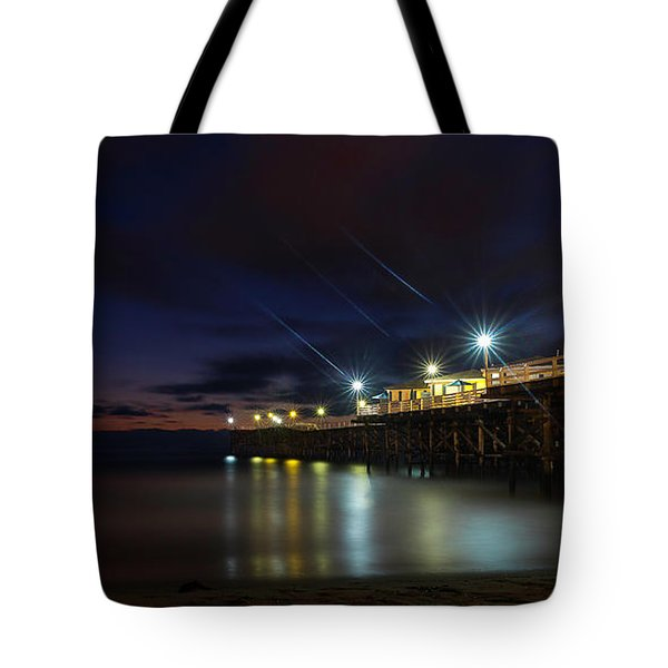 Tote Bag featuring the photograph Crystal Beach Pier Blue Hour  by James Sage