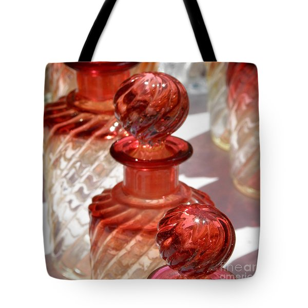 Tote Bag featuring the photograph Crystal Bottles by Lainie Wrightson
