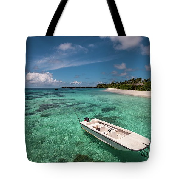 Crystal Clarity. Maldives Tote Bag by Jenny Rainbow