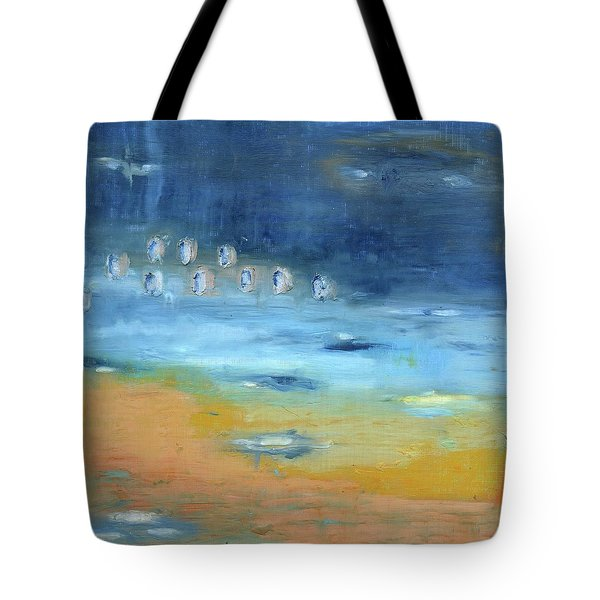 Tote Bag featuring the painting Crystal Deep Waters by Michal Mitak Mahgerefteh