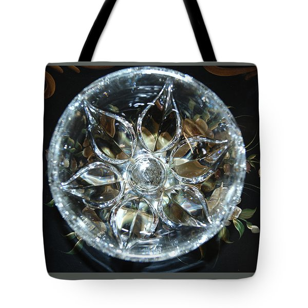 Crystal Floral On Black Tote Bag