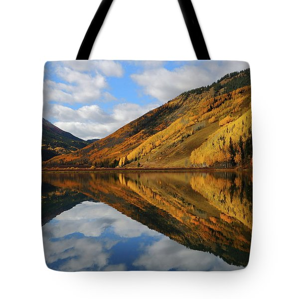Tote Bag featuring the photograph Crystal Lake Autumn Reflection by Jetson Nguyen