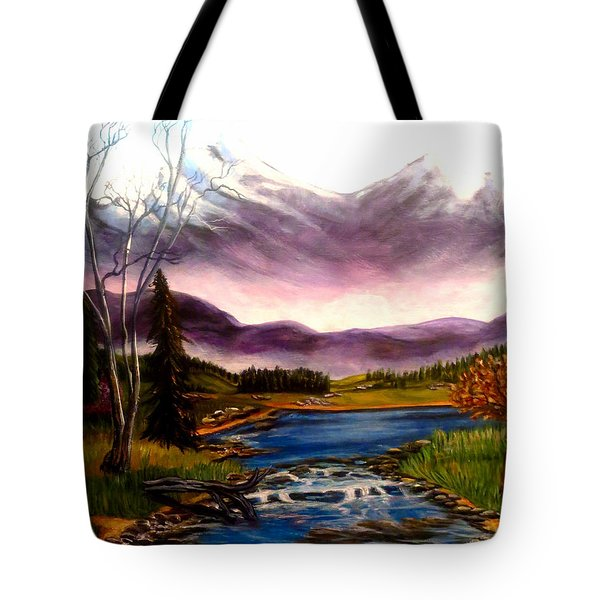 Crystal Lake With Snow Capped Mountains Tote Bag