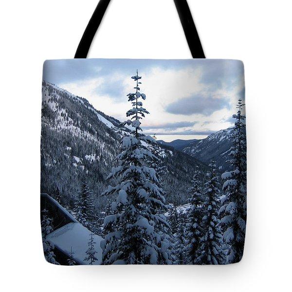 Crystal Mountain Dawn Tote Bag by Lorraine Devon Wilke