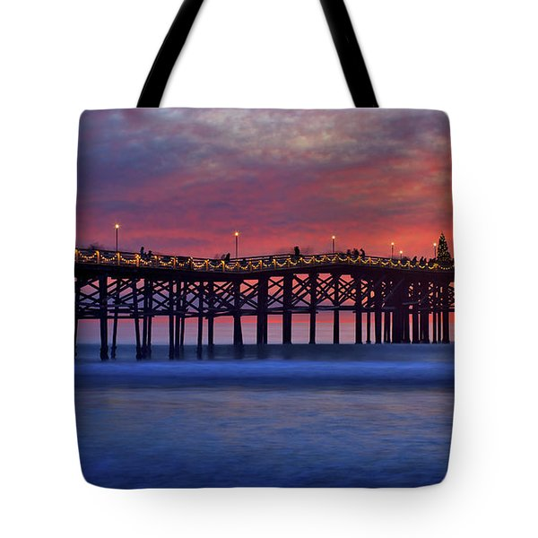 Crystal Pier In Pacific Beach Decorated With Christmas Lights Tote Bag