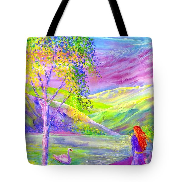 Tote Bag featuring the painting Crystal Pond, Silver Birch Tree And Swan by Jane Small