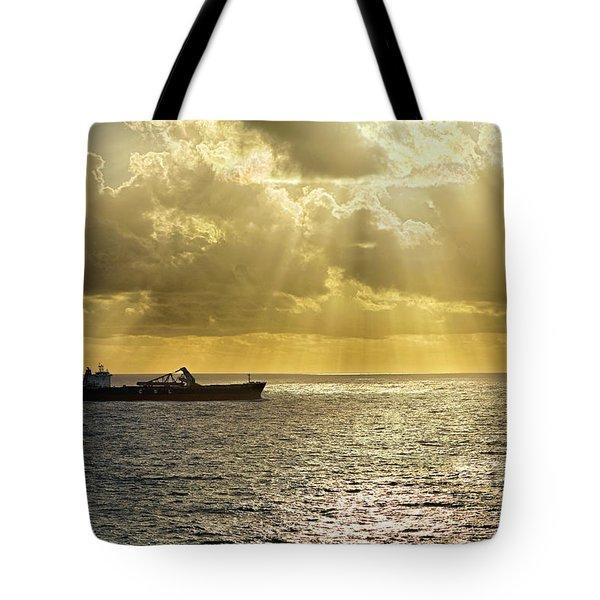 Tote Bag featuring the photograph Csl Spirit At Sunrise - Caribbean Ocean - Seascape - Ship by Jason Politte