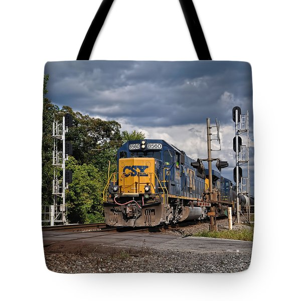 Csx Train Headed West Tote Bag by Pamela Baker
