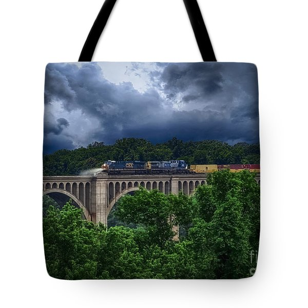 Tote Bag featuring the photograph Csx Train Trestle by Melissa Messick