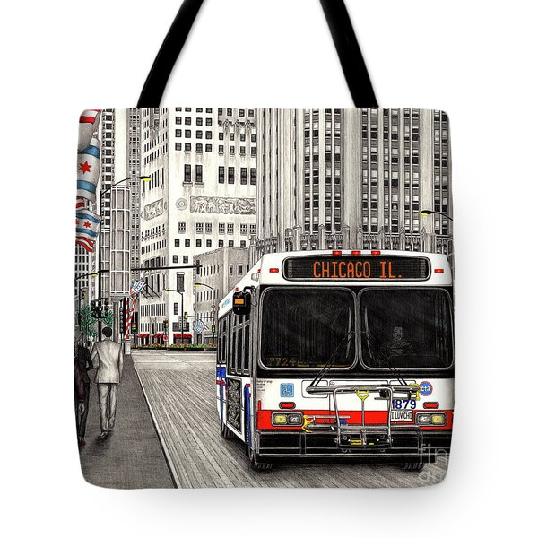 Cta Bus On Michigan Avenue Tote Bag