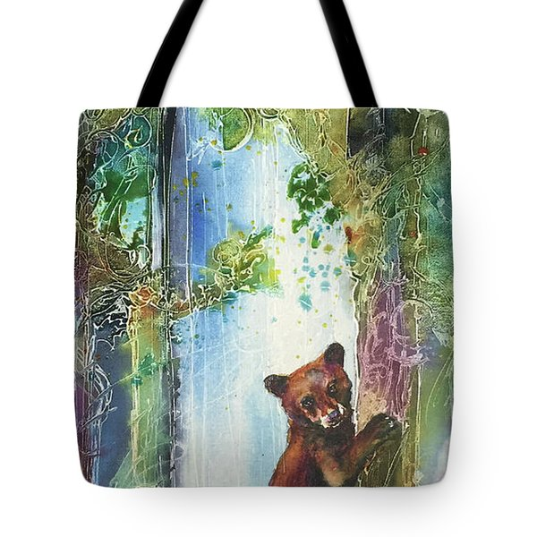 Tote Bag featuring the painting Cub Bear Climbing by Christy Freeman