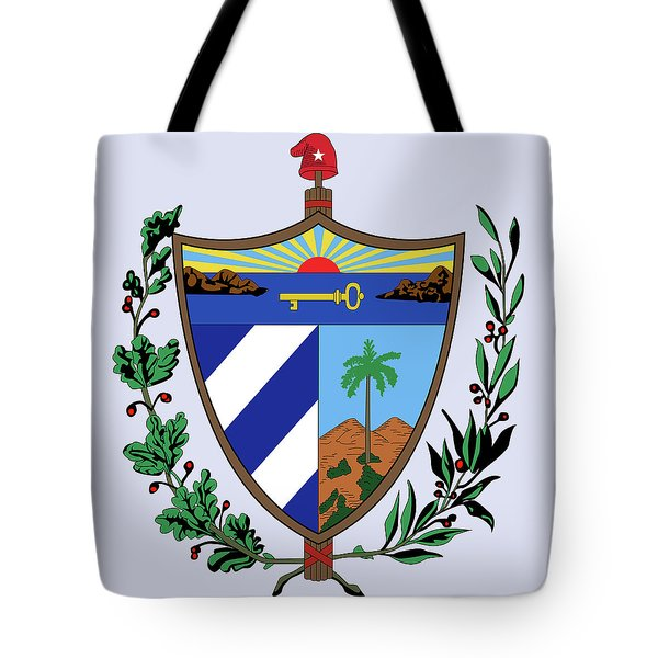 Tote Bag featuring the drawing Cuba Coat Of Arms by Movie Poster Prints