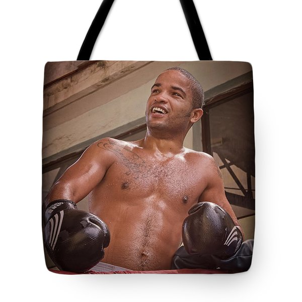 Tote Bag featuring the photograph Cuban Boxer Ready For Sparring by Joan Carroll