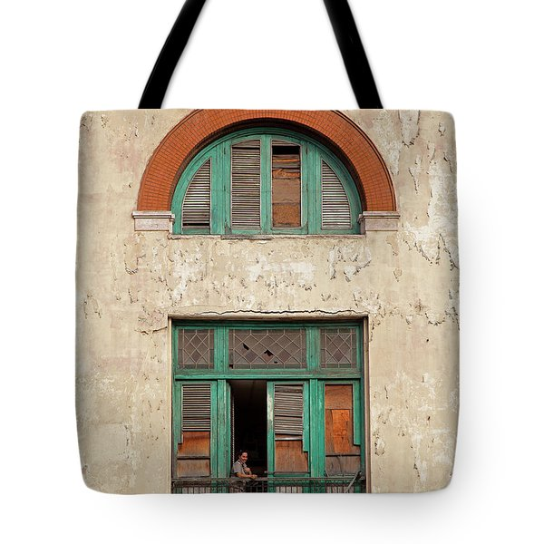 Tote Bag featuring the photograph Cuban Woman On San Pedro Balcony Havana Cuba by Charles Harden