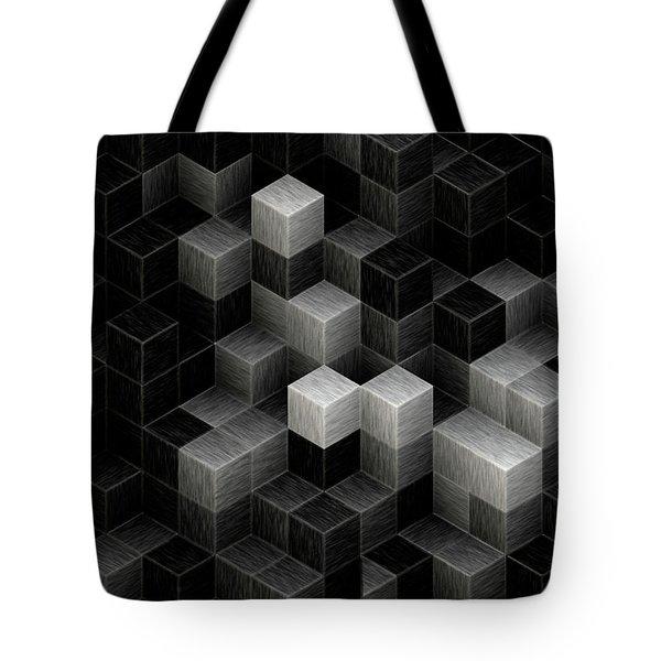 Cubed B/w Tote Bag