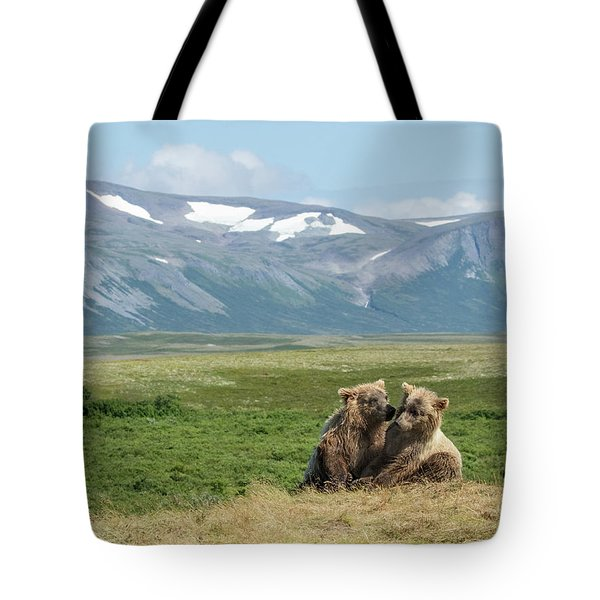 Cubs Playing On The Bluff Tote Bag