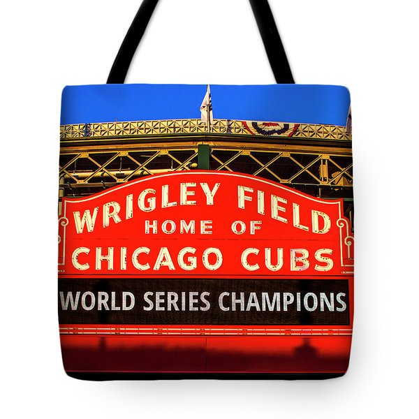 Cubs Win World Series Tote Bag by Andrew Soundarajan