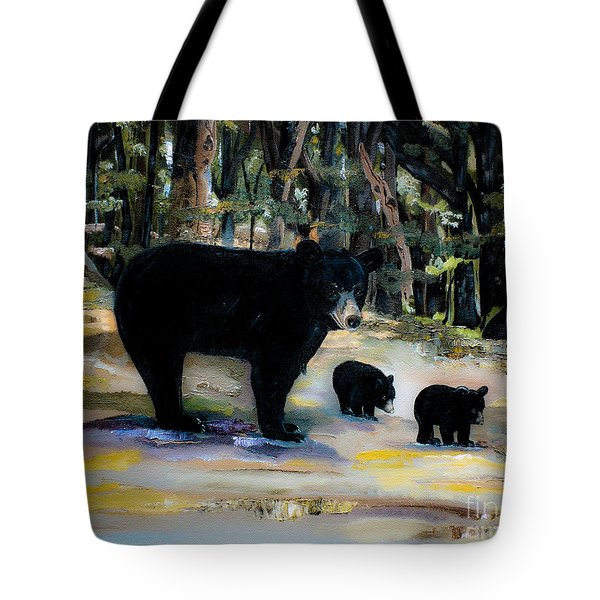 Cubs With Momma Bear - Dreamy Version - Black Bears Tote Bag by Jan Dappen