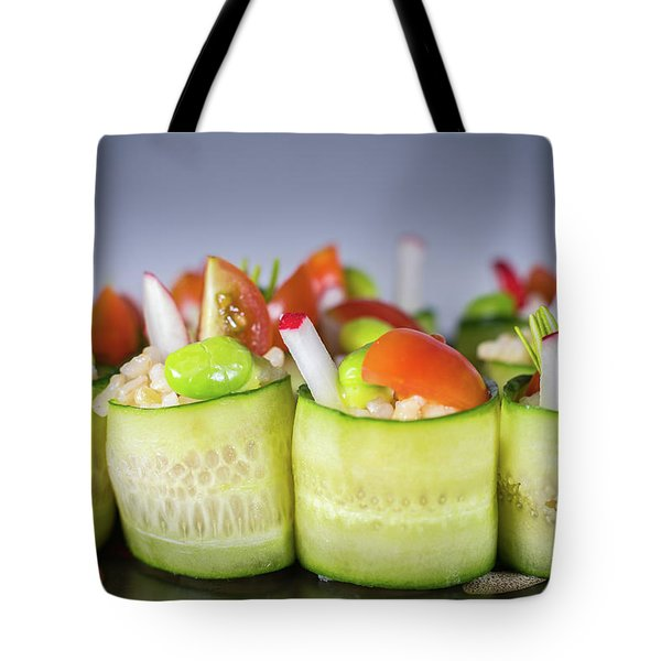 Tote Bag featuring the photograph Cucumber Rice Rolls On Plate by William Lee