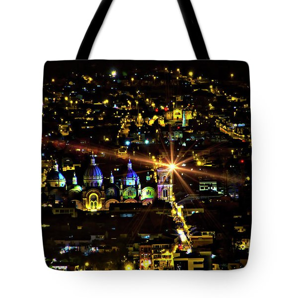 Tote Bag featuring the photograph Cuenca's Historic District At Night by Al Bourassa