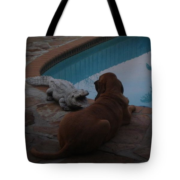 Cujo And The Alligator Tote Bag by Val Oconnor