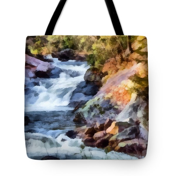 Tote Bag featuring the painting Cullasaja Falls by Lynne Jenkins