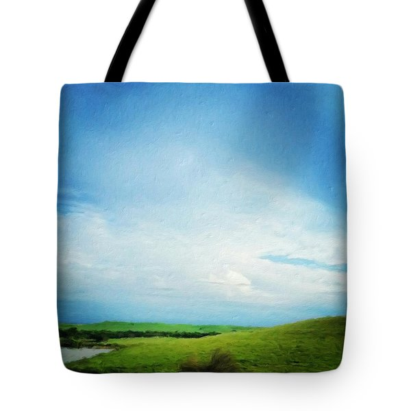 Cultivating Green And Blue Landscape Tote Bag