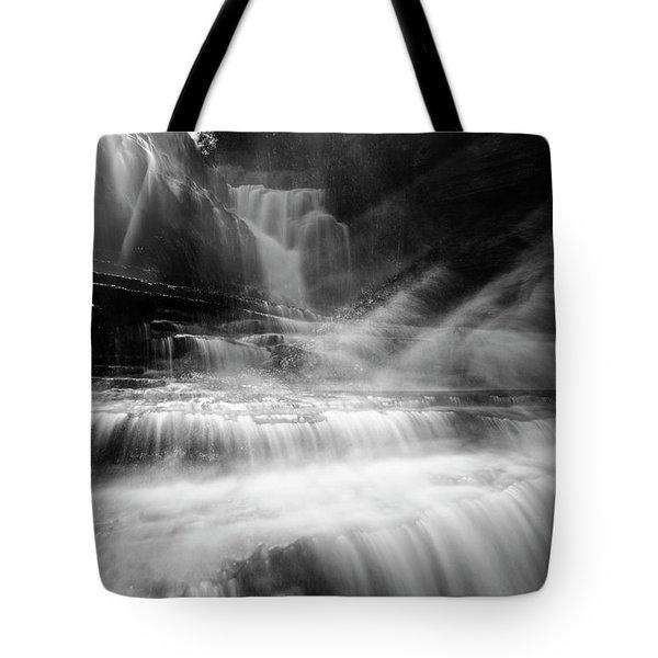 Cummins Falls In Black And White Tote Bag