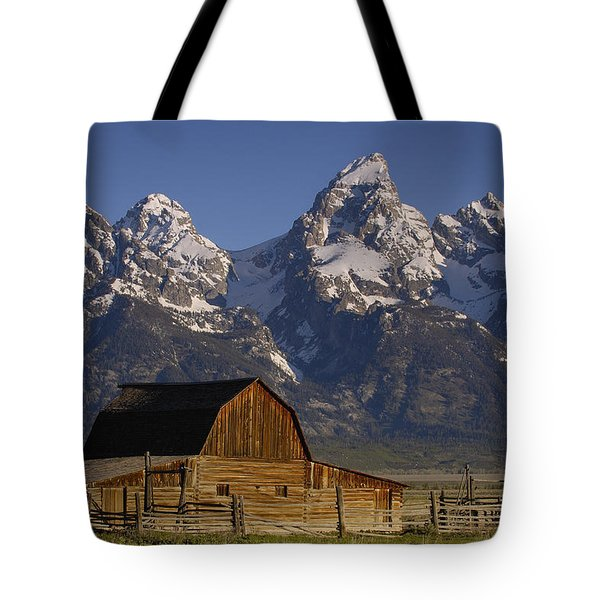 Tote Bag featuring the photograph Cunningham Cabin In Front Of Grand by Pete Oxford