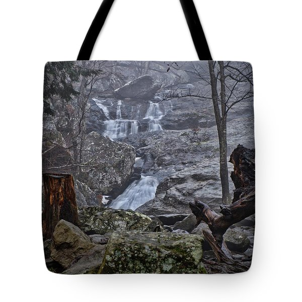 Tote Bag featuring the photograph Cunningham Falls In The Rain And Fog by Mark Dodd