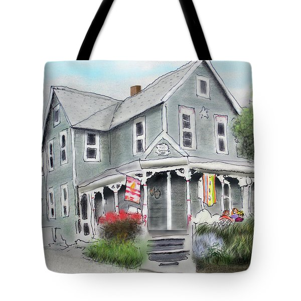 Tote Bag featuring the drawing Cup A Joes Coffee Shop by Albert Puskaric