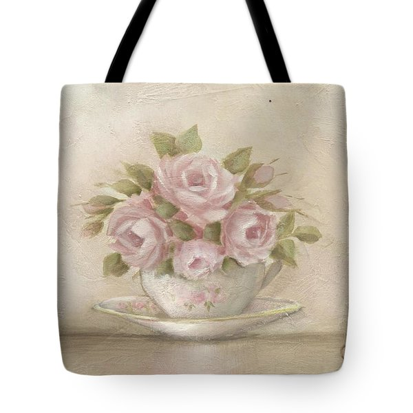 Cup And Saucer  Pink Roses Tote Bag