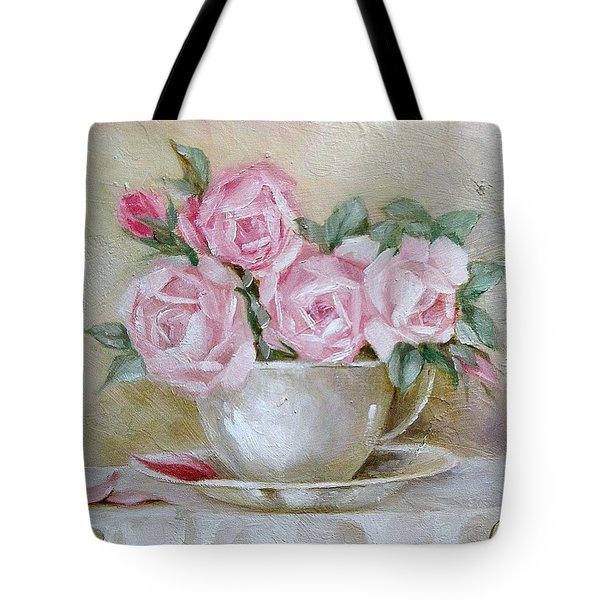Tote Bag featuring the painting Cup And Saucer Roses by Chris Hobel