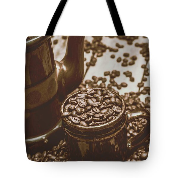 Cup And Teapot Filled With Roasted Coffee Beans Tote Bag