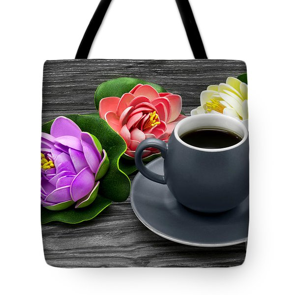 Cup Of Coffee And Artificial Colored Water Lilies Tote Bag