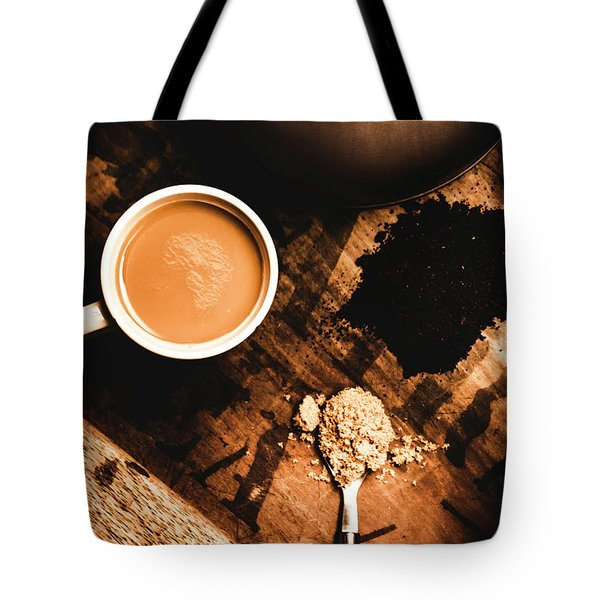 Cup Of Tea With Ingredients And Kettle On Wooden Table Tote Bag