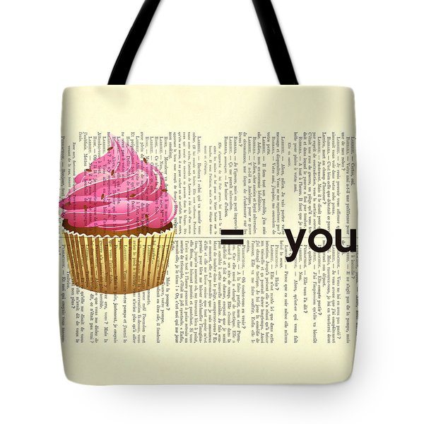 Pink Cupcake Equals You Print On Dictionary Paper Tote Bag