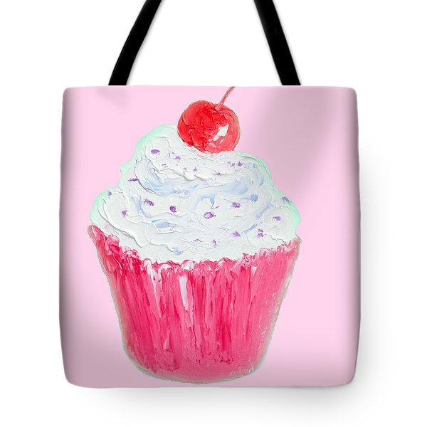 Cupcake Painting On Pink Background Tote Bag by Jan Matson