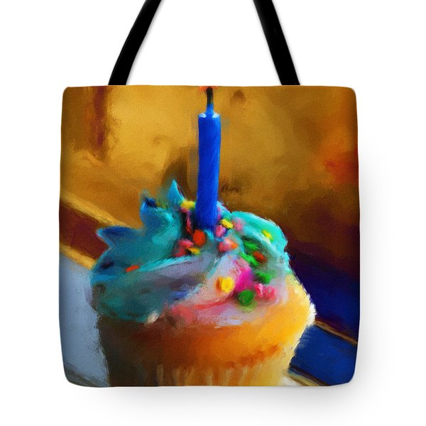 Cupcake With Candle Tote Bag by Jai Johnson