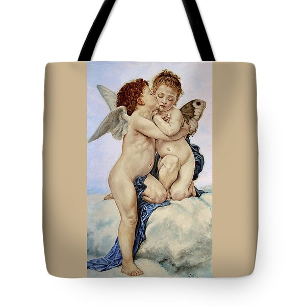 Cupid And Psyche Reproduction William Adolphe Bouguereau  Tote Bag