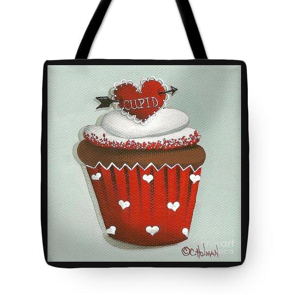 Cupid's Arrow Valentine Cupcake Tote Bag by Catherine Holman