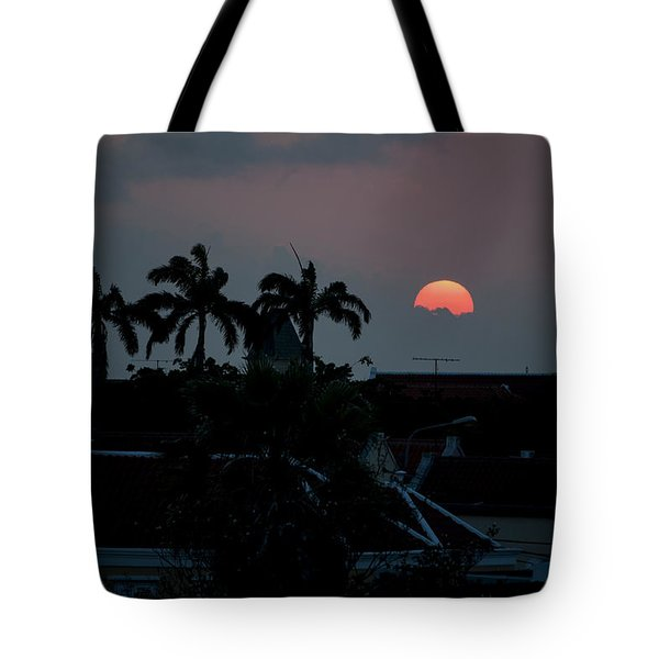 Tote Bag featuring the photograph Curacao Sun Rise by Allen Carroll