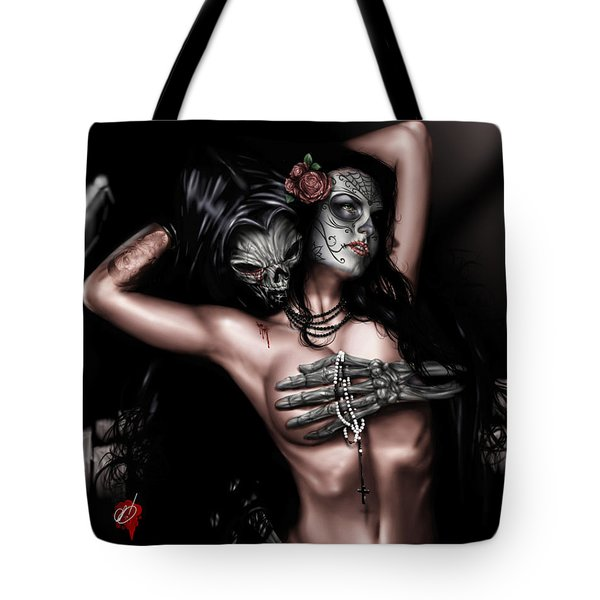 Tote Bag featuring the painting Cure My Tragedy by Pete Tapang