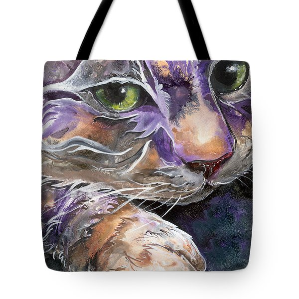Tote Bag featuring the painting Curiosity by Sherry Shipley