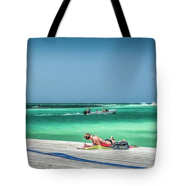 Curious Bikini Clad  Sunbather Tote Bag