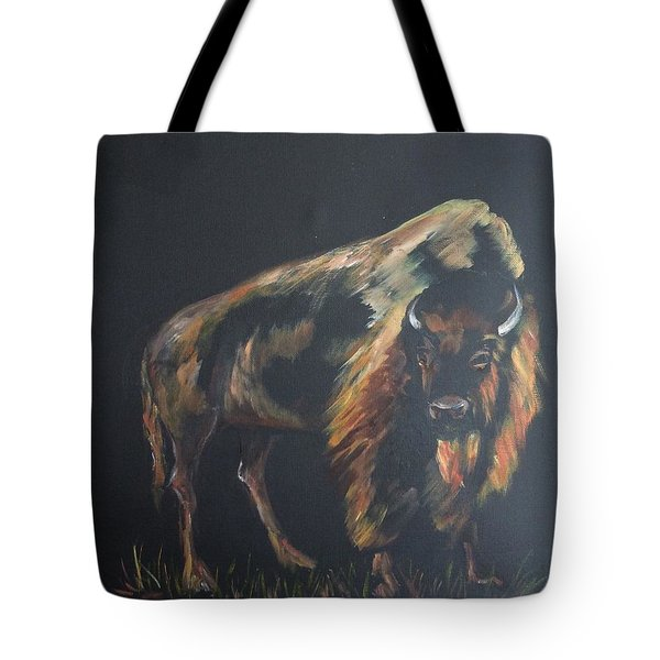 Tote Bag featuring the painting Curious Bison by Ellen Canfield