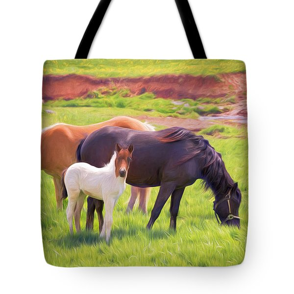 Curious Colt And Mares Tote Bag
