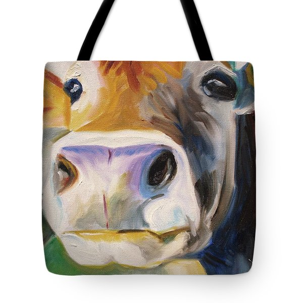 Tote Bag featuring the painting Curious Cow by Donna Tuten